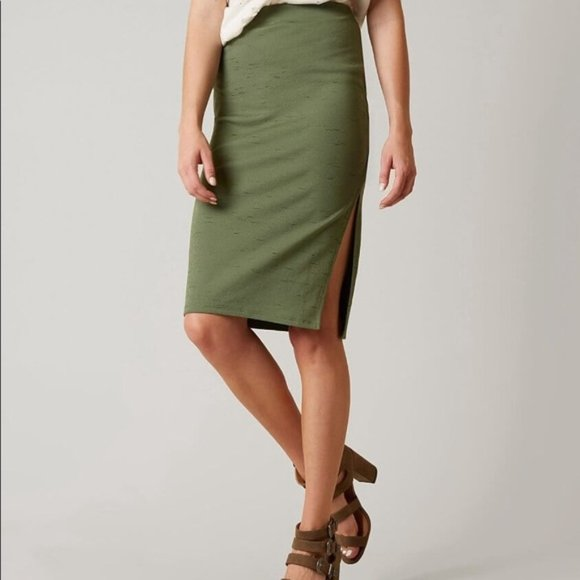 Free People Dresses & Skirts - Free People Green Pencil Jersey Knit Skirt S NWT